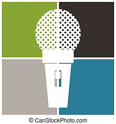 Microphone icon, classic microphone symbol on color...