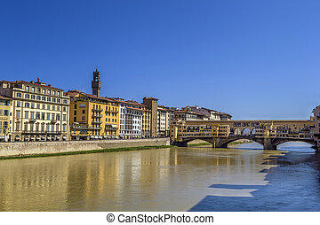 Embankment of Arno river, Florence - Embankment of Arno...