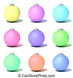 Christmas toys in the form of multi-colored matte balls for...