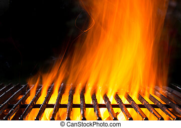 Empty grill grid with fire flames