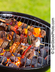 Vegetable and meat skewer on grill - Delicious vegetable and...