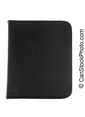 Black leather organizer on white with clipping path - Black...