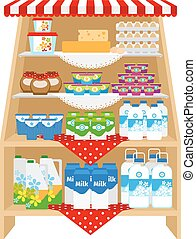 Dairy products on store shelves. Milk and yogurt, cheese and...