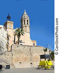 Sitges, Spain - Church near the beach in Sitges, Spain near...