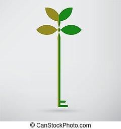 green eco key icon