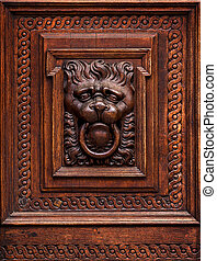 Lion Head as Wood Carving in Old Door