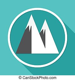 Mountain icon on white circle with a long shadow