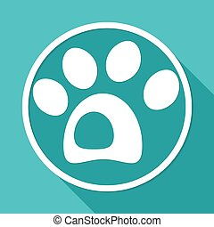dog icon on white circle with a long shadow