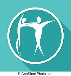 dancer icon on white circle with a long shadow
