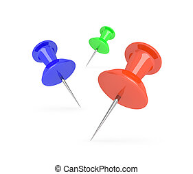 Push pins. - Illustration depicting three push pins arranged...