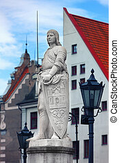 Sculpture of Roland in the Town Hall Square in Riga on...