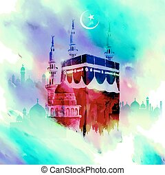Eid Mubarak (Happy Eid) background with Kaaba - illustration...