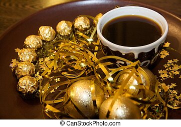 Christmas Coffee - Golden Christmas decoration and coffee...