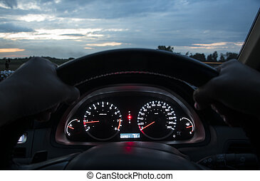 car dashboard - Car Dashboard. Close up image of illuminated...