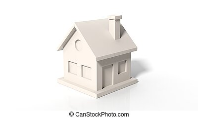 Colorless house model isolated on white background