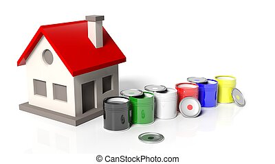 House model with paint buckets isolated on white background