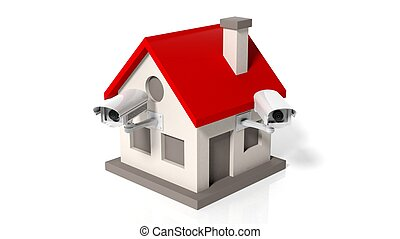 House model with surveillance cameras isolated on white...