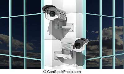 Two security surveillance cameras on skyscraper building