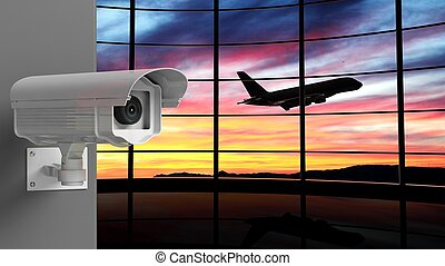Security surveillance camera with airport window as background