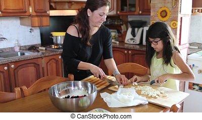Woman Preparing Food With Her Daugh