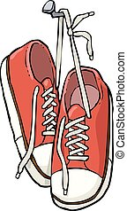 Shoes on a nail - Cartoon shoes on a nail vector...