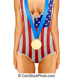 American body with gold medal - Part of American woman body...