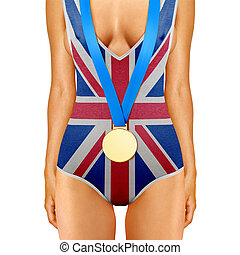 English body with medal - body of woman in swimwear like...