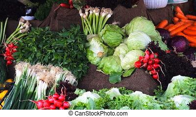 Fresh healthy bio fennel and carrots on Istanbul farmer...