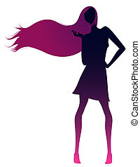 girl silhouette - drawing of female silhouette in a white...
