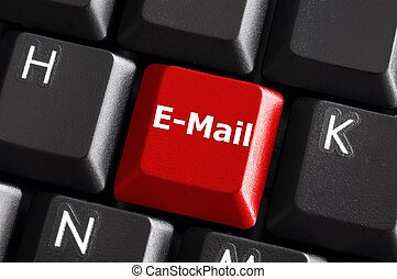 internet email communication concept with a button on...