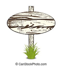 Wood Sign Board on a grass. Vector illustration. Isolated on...