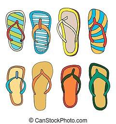 flip flops set - Colorful flip flops set. Illustration on...