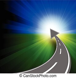 Success concept with road and arrow to horizont