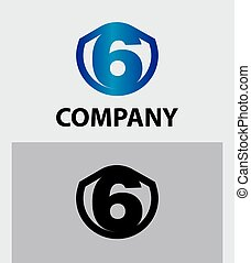 Abstract Number 6 logo Symbol icon