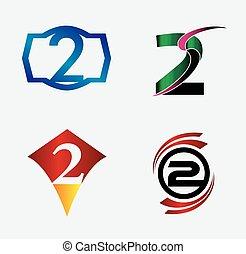 Number logo design.Number two logo.