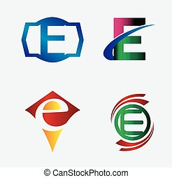 Set of Logo E Letter company vector design template