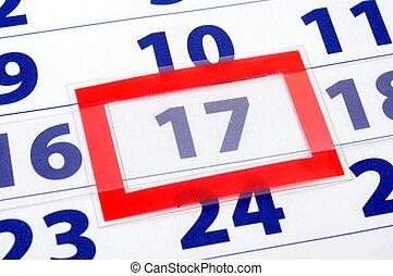 17 calendar day - calendar date showing outrunning business...