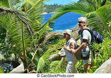 elderly couple walking in the tropical