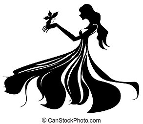 female silhouette - illustration drawing of female...
