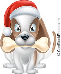 Cartoon Christmas Puppy - An illustration of a cartoon Puppy...
