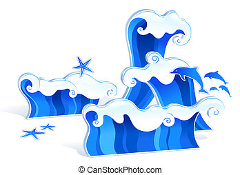 wave - drawing of beautiful blue waves and starfish