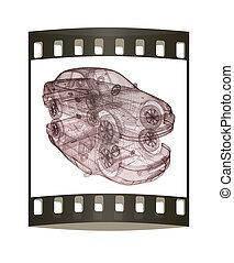 model cars. 3d render. The film strip