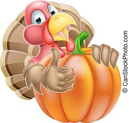 Cartoon Thumbs Up Turkey and Pumpkin