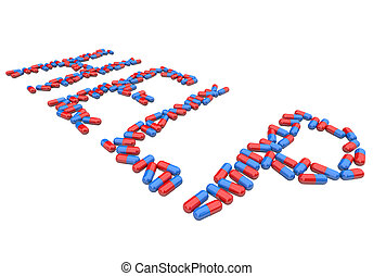 Help - Word in Red and Blue Capsules - The word Help spelled...