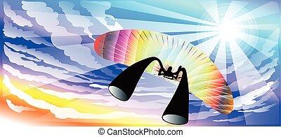 Paragliding sunshine blue sky