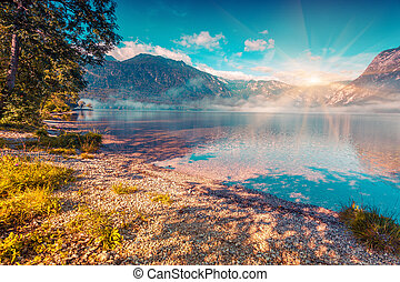 Foggy summer morning on the Bohinj lake Triglav national...