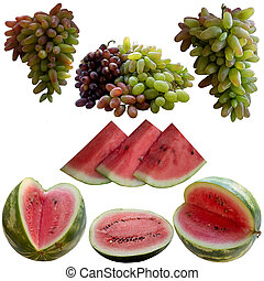 Water-melons and Grapes. - Baccate, Berry, Part, Color,...