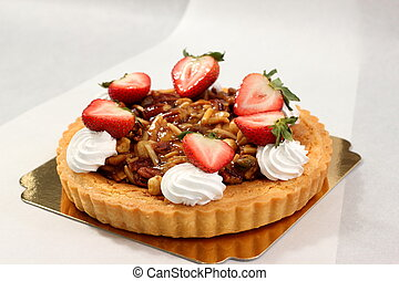 nut pie ontop cream and fresh strawberry - A nut pie ontop...