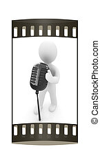 3D man with a microphone on a white background The film...