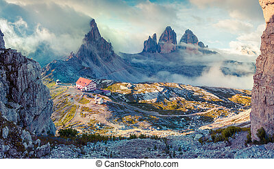 Panorama of the rifugio Lacatelli in National Park Tre Cime...
